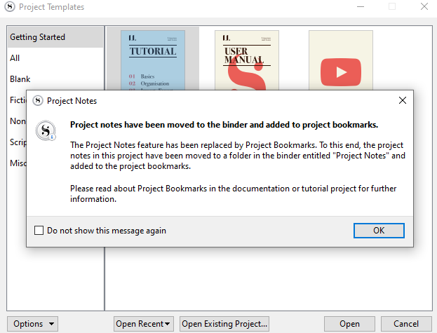 A popup from Scrivener 3 tells that the project notes have been moved the the binder and added to project bookmarks.