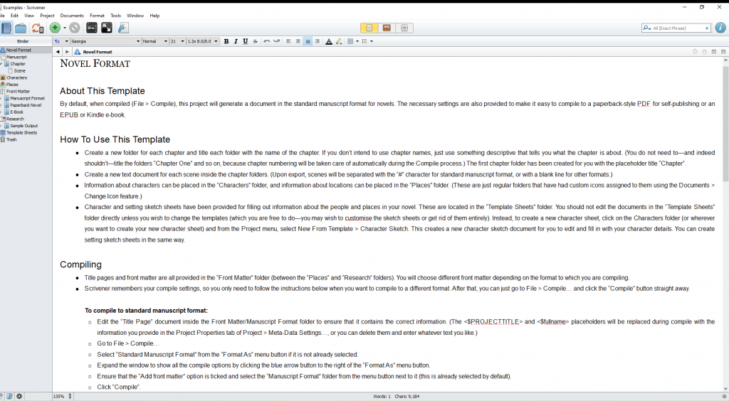 The image shows the layout of text in Scrivener 1. It spans the entire length of the screen.